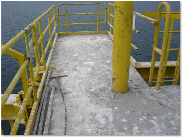 Laydown area on an unmanned offshore platform after seagull visit